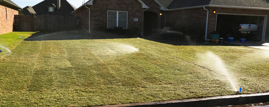 Photo of Freshly Laid Sod and Sprinkler in Enid OK